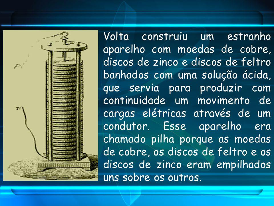 Volta construiu um estranho aparelho com moedas de cobre, discos de zinco e discos de feltro banhados com uma solução ácida, que servia para produzir