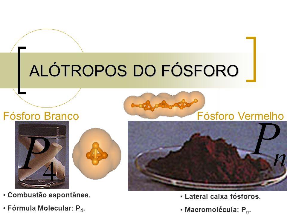 ALÓTROPOS DO FÓSFORO Fósforo BrancoFósforo Vermelho Combustão espontânea. Fórmula Molecular: P 4. Lateral caixa fósforos. Macromolécula: P n.