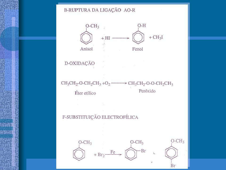 ÉTERES: Aplicações Os éteres mais simples são utilizados principalmente como solventes.