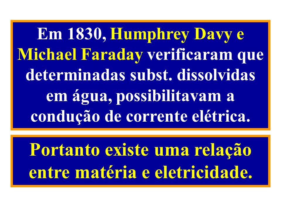 Em 1830, Humphrey Davy e Michael Faraday verificaram que determinadas subst. dissolvidas em água, possibilitavam a condução de corrente elétrica. Port
