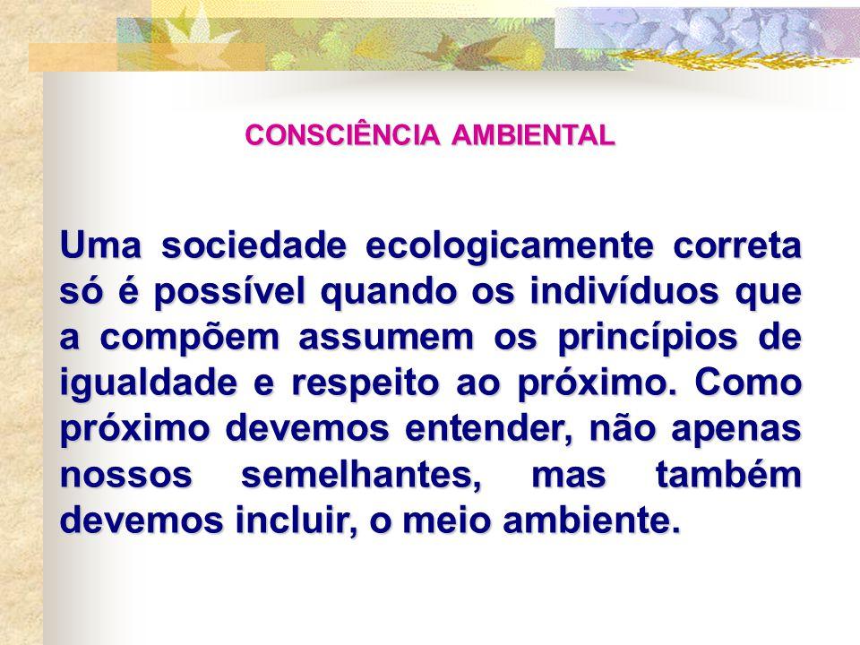 CONSCIÊNCIA AMBIENTAL Uma sociedade ecologicamente correta só é possível quando os indivíduos que a compõem assumem os princípios de igualdade e respeito ao próximo.