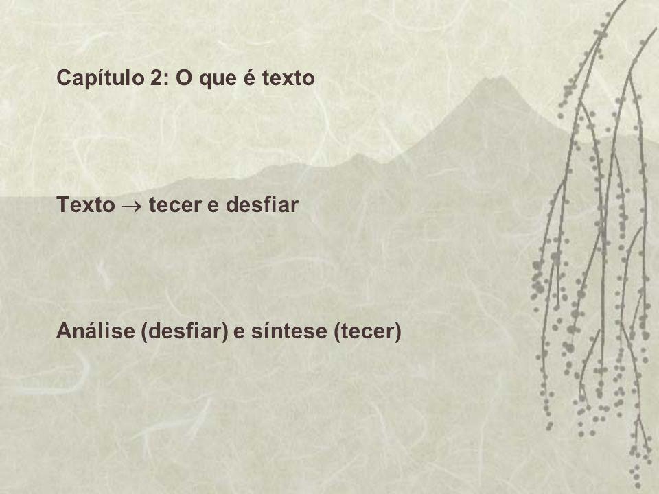 Capítulo 2: O que é texto Texto tecer e desfiar Análise (desfiar) e síntese (tecer)