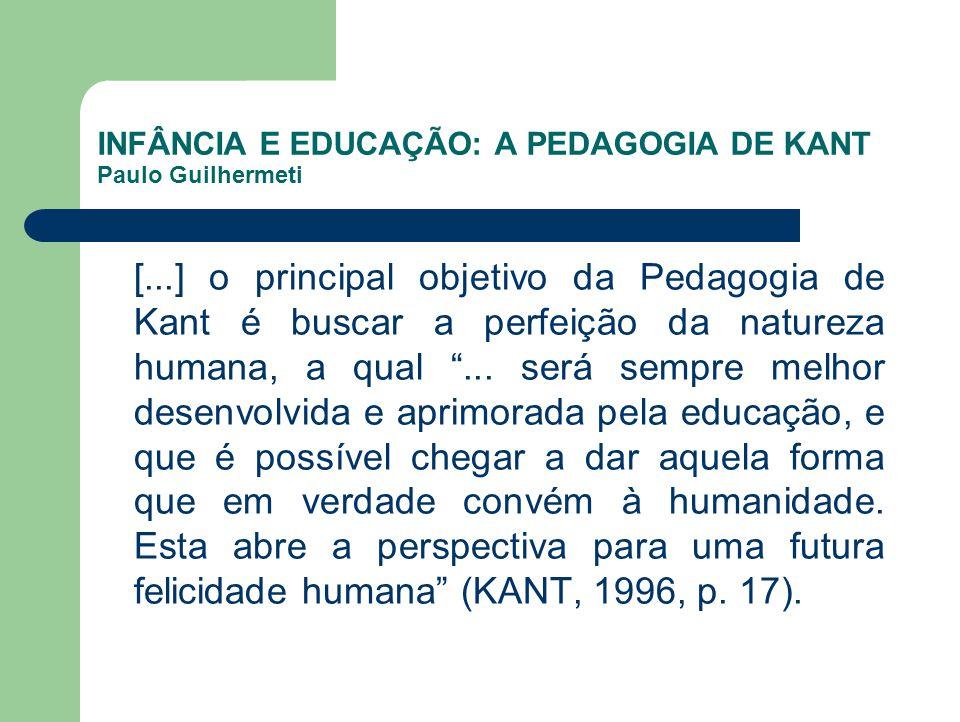 INFÂNCIA E EDUCAÇÃO: A PEDAGOGIA DE KANT Paulo Guilhermeti [...] o principal objetivo da Pedagogia de Kant é buscar a perfeição da natureza humana, a