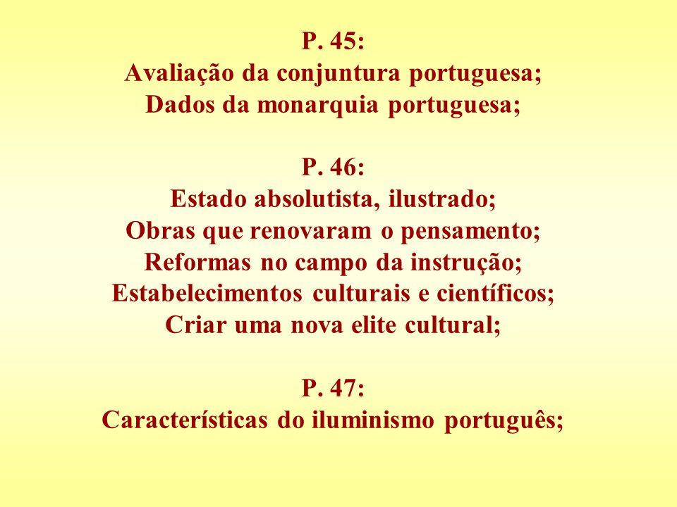 P. 45: Avaliação da conjuntura portuguesa; Dados da monarquia portuguesa; P. 46: Estado absolutista, ilustrado; Obras que renovaram o pensamento; Refo