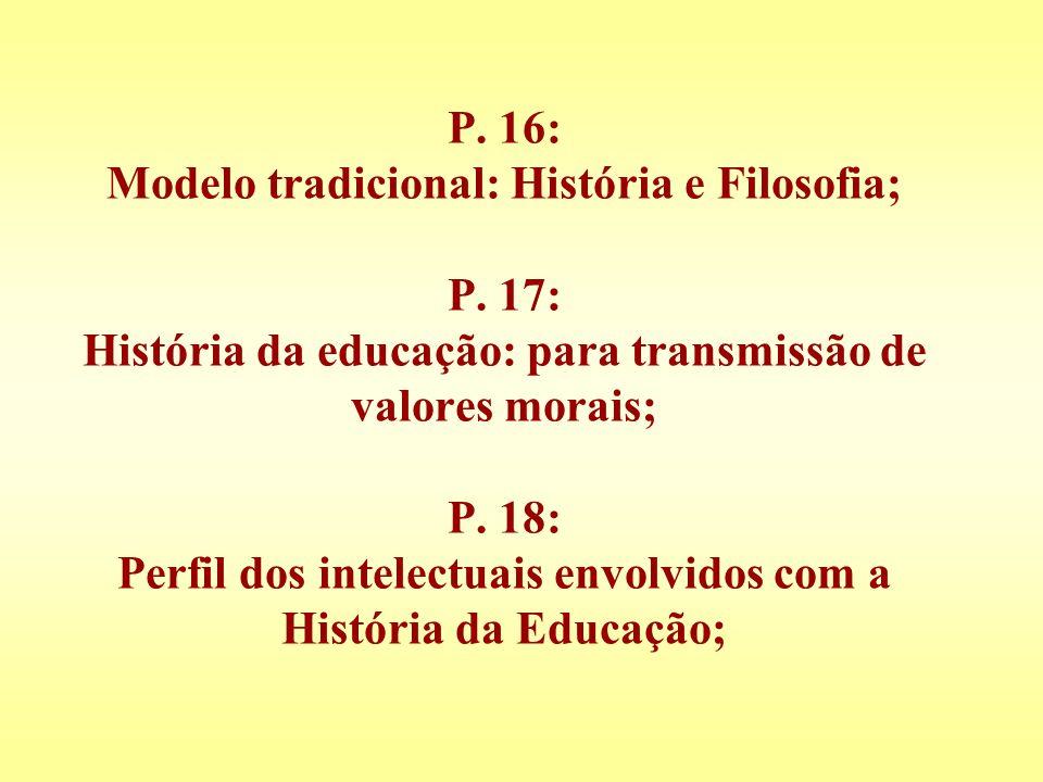 P. 16: Modelo tradicional: História e Filosofia; P. 17: História da educação: para transmissão de valores morais; P. 18: Perfil dos intelectuais envol