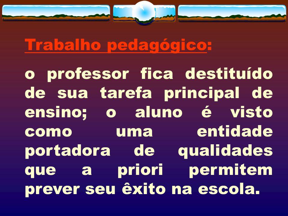 Trabalho pedagógico: o professor fica destituído de sua tarefa principal de ensino; o aluno é visto como uma entidade portadora de qualidades que a pr