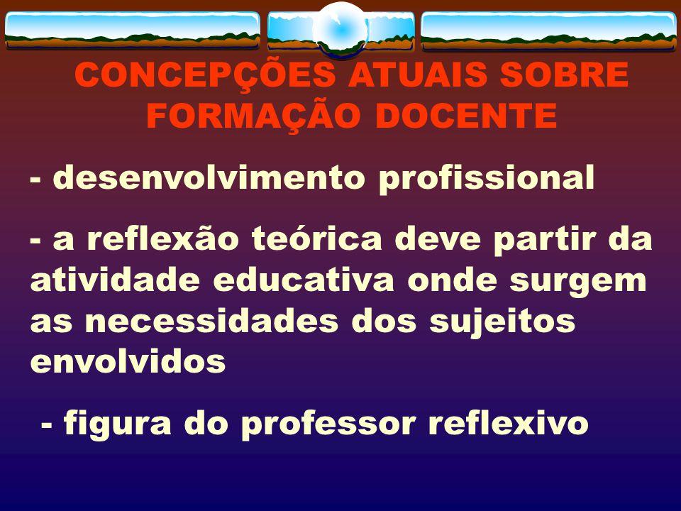 CONCEPÇÕES ATUAIS SOBRE FORMAÇÃO DOCENTE - desenvolvimento profissional - a reflexão teórica deve partir da atividade educativa onde surgem as necessi