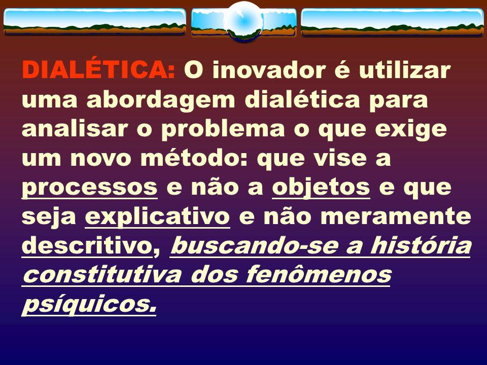 DIALÉTICA: O inovador é utilizar uma abordagem dialética para analisar o problema o que exige um novo método: que vise a processos e não a objetos e q