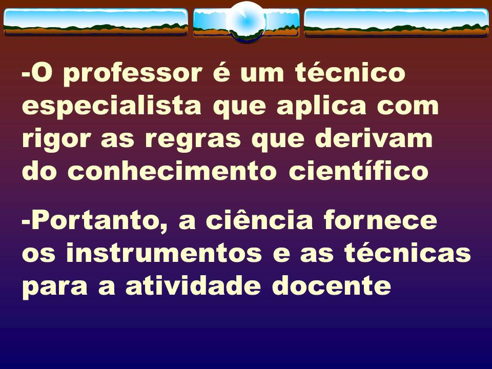 -O professor é um técnico especialista que aplica com rigor as regras que derivam do conhecimento científico -Portanto, a ciência fornece os instrumen