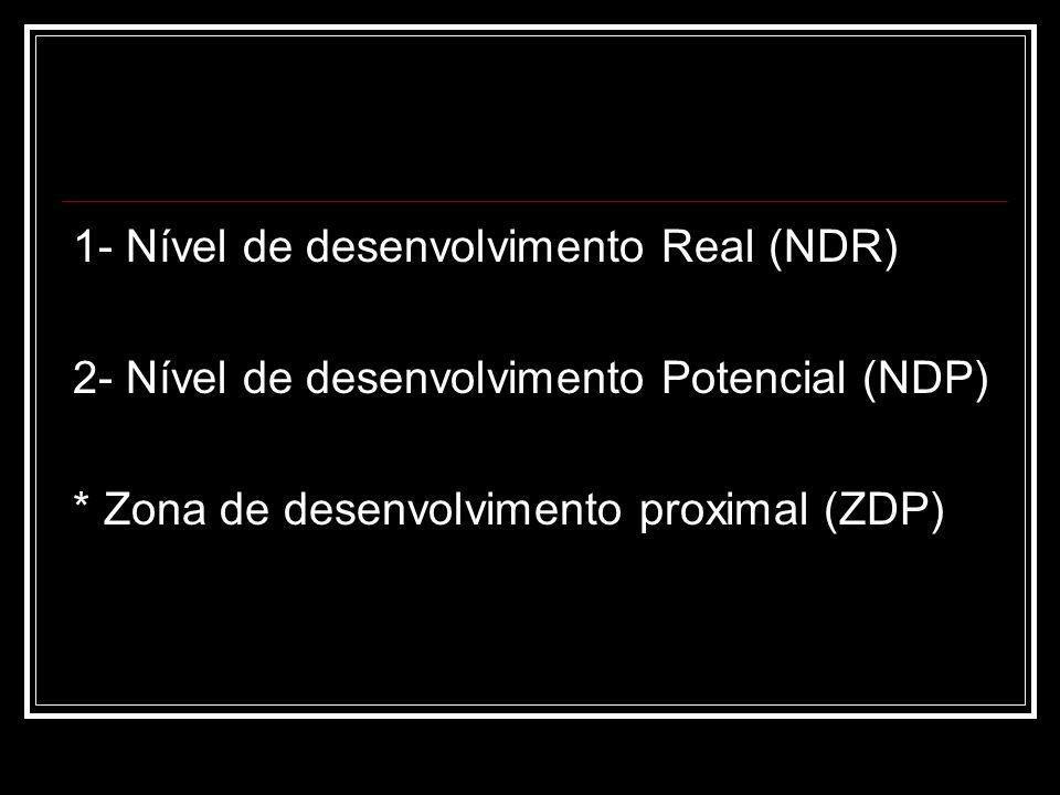 1- Nível de desenvolvimento Real (NDR) 2- Nível de desenvolvimento Potencial (NDP) * Zona de desenvolvimento proximal (ZDP)