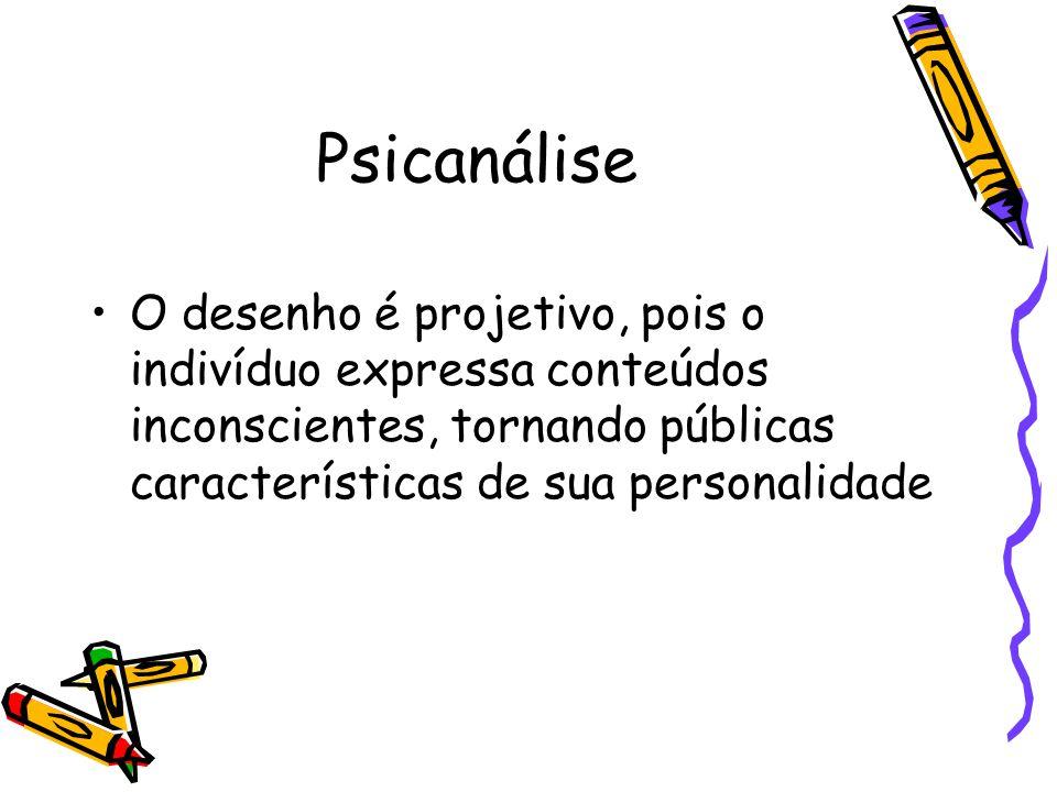 Psicanálise O desenho é projetivo, pois o indivíduo expressa conteúdos inconscientes, tornando públicas características de sua personalidade