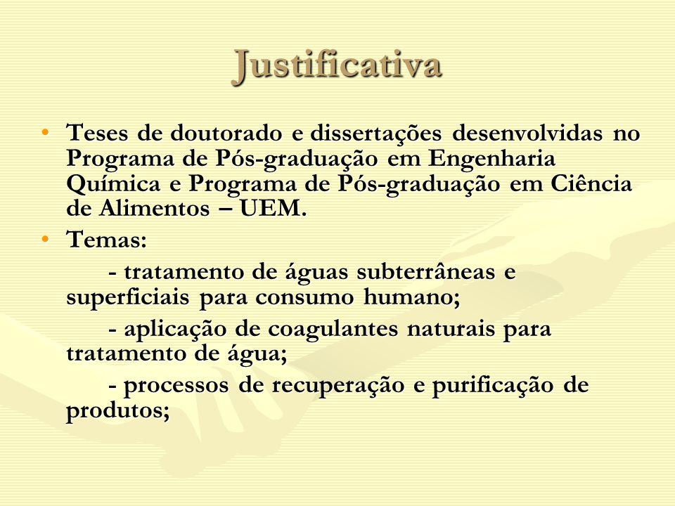 Justificativa Teses de doutorado e dissertações desenvolvidas no Programa de Pós-graduação em Engenharia Química e Programa de Pós-graduação em Ciênci
