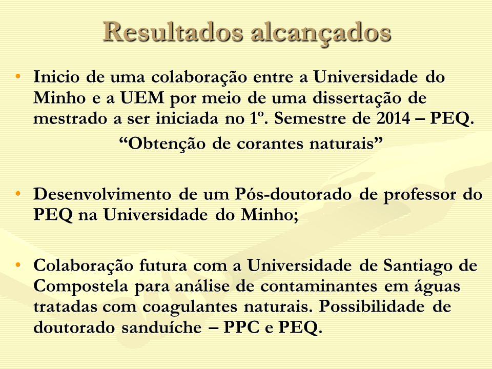 Resultados alcançados Inicio de uma colaboração entre a Universidade do Minho e a UEM por meio de uma dissertação de mestrado a ser iniciada no 1º. Se