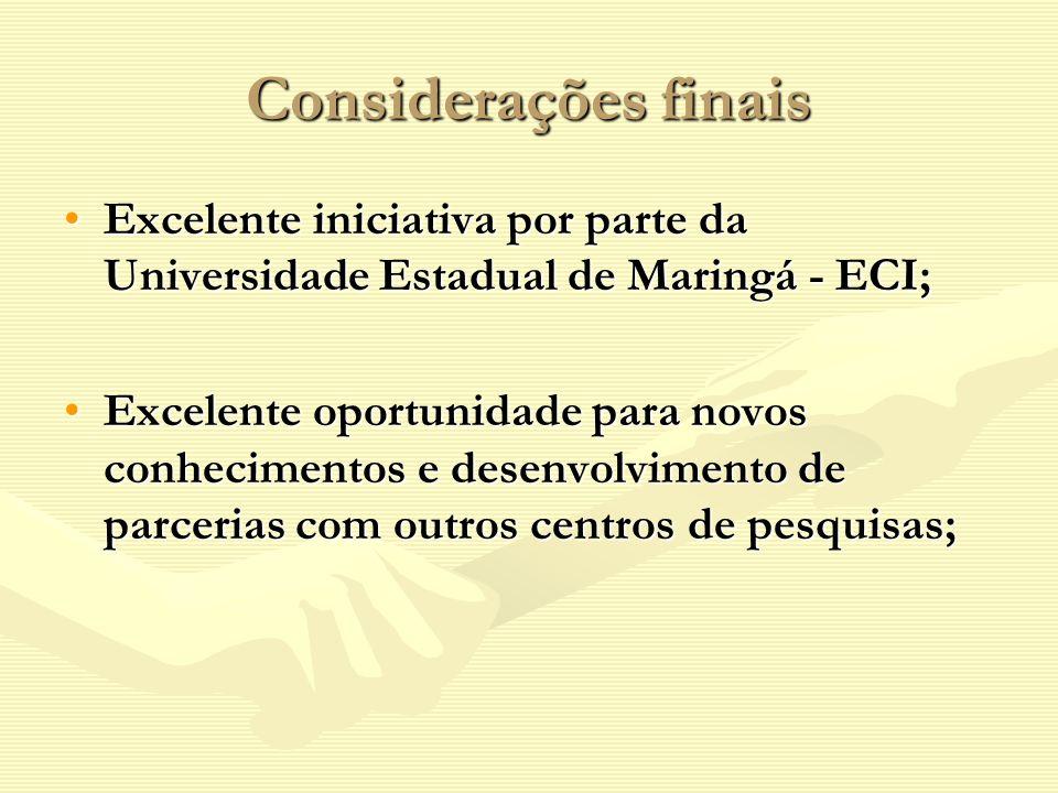 Considerações finais Excelente iniciativa por parte da Universidade Estadual de Maringá - ECI;Excelente iniciativa por parte da Universidade Estadual de Maringá - ECI; Excelente oportunidade para novos conhecimentos e desenvolvimento de parcerias com outros centros de pesquisas;Excelente oportunidade para novos conhecimentos e desenvolvimento de parcerias com outros centros de pesquisas;