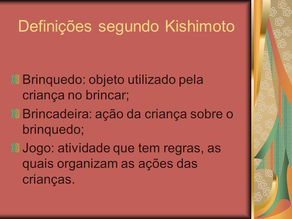 Definições segundo Kishimoto Brinquedo: objeto utilizado pela criança no brincar; Brincadeira: ação da criança sobre o brinquedo; Jogo: atividade que tem regras, as quais organizam as ações das crianças.