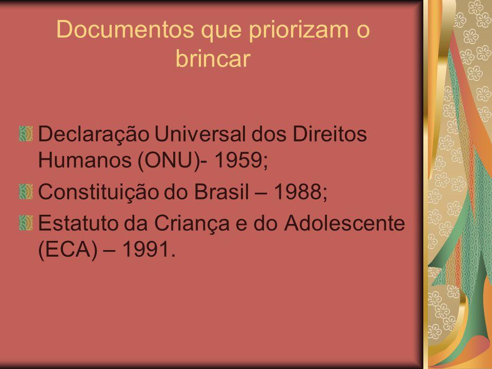 Documentos que priorizam o brincar Declaração Universal dos Direitos Humanos (ONU)- 1959; Constituição do Brasil – 1988; Estatuto da Criança e do Adolescente (ECA) – 1991.