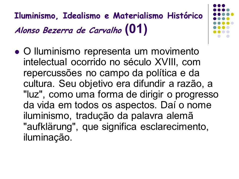 Iluminismo, Idealismo e Materialismo Histórico Iluminismo, Idealismo e Materialismo Histórico Alonso Bezerra de Carvalho (01) O Iluminismo representa