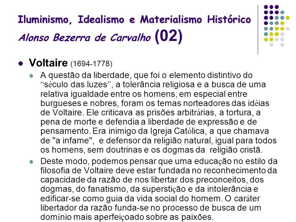 Iluminismo, Idealismo e Materialismo Histórico Iluminismo, Idealismo e Materialismo Histórico Alonso Bezerra de Carvalho (02) Voltaire (1694-1778) A q