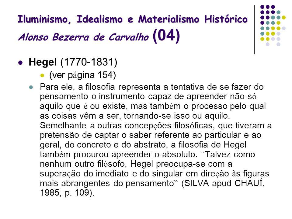 Iluminismo, Idealismo e Materialismo Histórico Iluminismo, Idealismo e Materialismo Histórico Alonso Bezerra de Carvalho (04) Hegel (1770-1831) (ver p