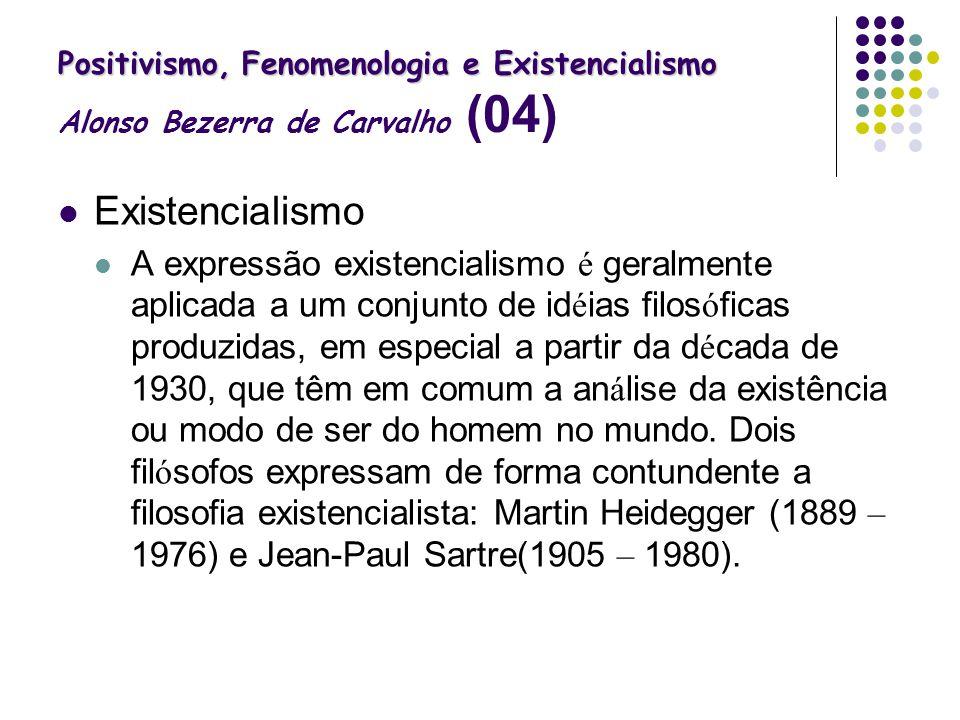 Positivismo, Fenomenologia e Existencialismo Positivismo, Fenomenologia e Existencialismo Alonso Bezerra de Carvalho (04) Existencialismo A expressão