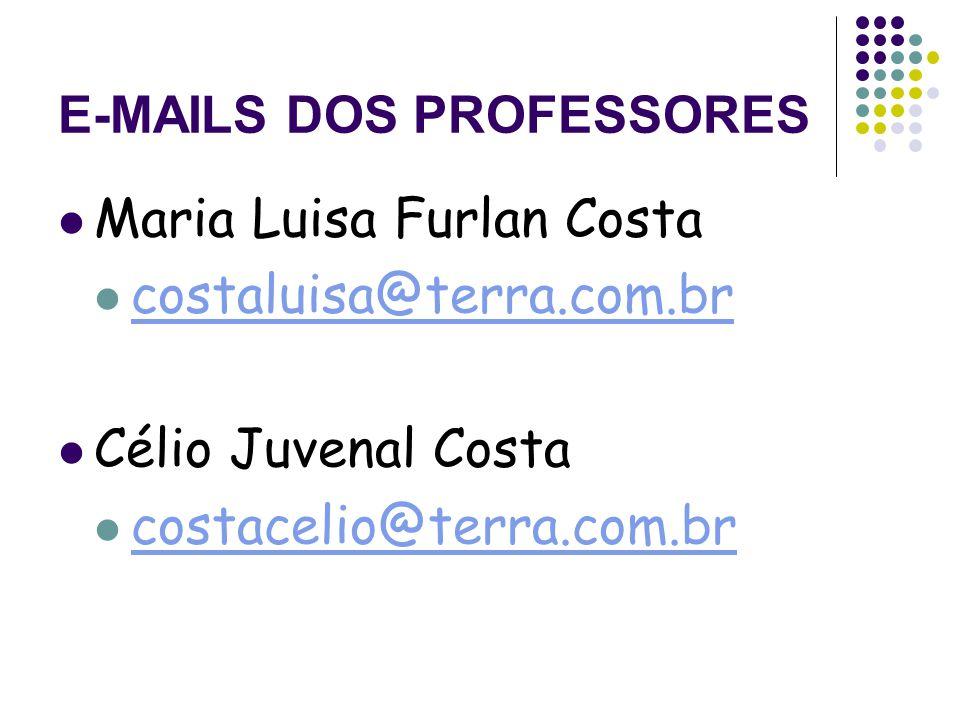 E-MAILS DOS PROFESSORES Maria Luisa Furlan Costa costaluisa@terra.com.br Célio Juvenal Costa costacelio@terra.com.br