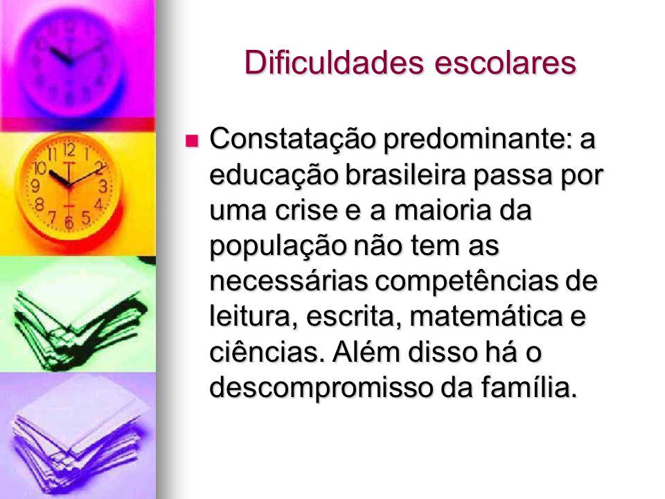 Dificuldades escolares Constatação predominante: a educação brasileira passa por uma crise e a maioria da população não tem as necessárias competência