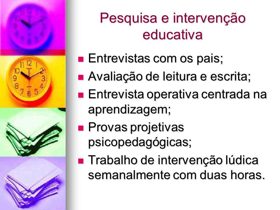 Pesquisa e intervenção educativa Entrevistas com os pais; Entrevistas com os pais; Avaliação de leitura e escrita; Avaliação de leitura e escrita; Ent