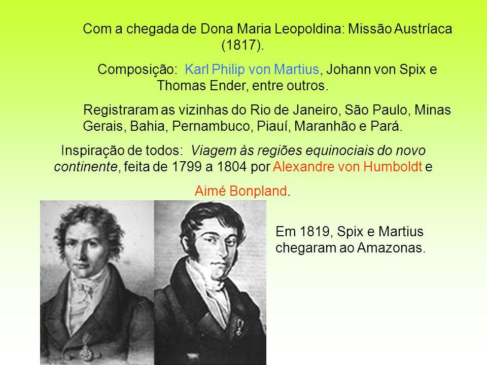 Com a chegada de Dona Maria Leopoldina: Missão Austríaca (1817). Composição: Karl Philip von Martius, Johann von Spix e Thomas Ender, entre outros. Re