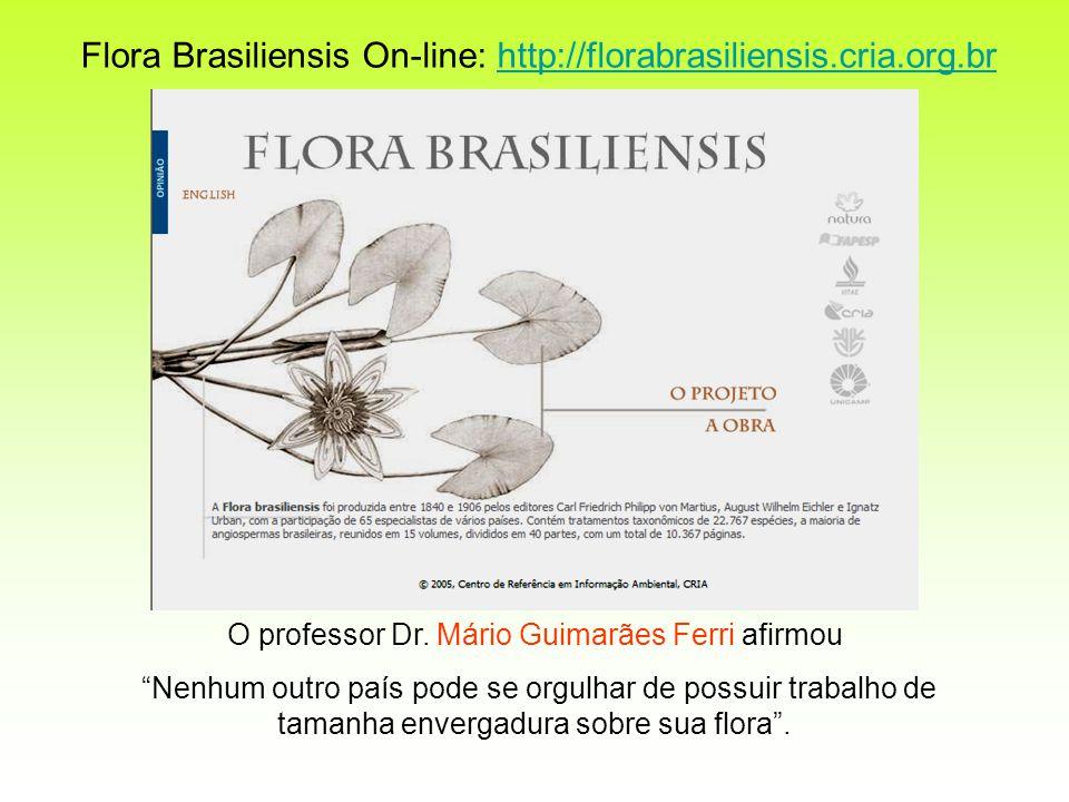 O professor Dr. Mário Guimarães Ferri afirmou Nenhum outro país pode se orgulhar de possuir trabalho de tamanha envergadura sobre sua flora. Flora Bra
