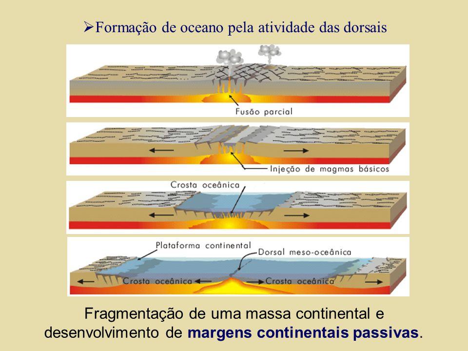 Limites divergentes Dorsais oceânicas ou montanhas submarinas Dorsal do Leste-Pacífico Dorsal Meso Atlântica Dorsal do Sudeste Indiano