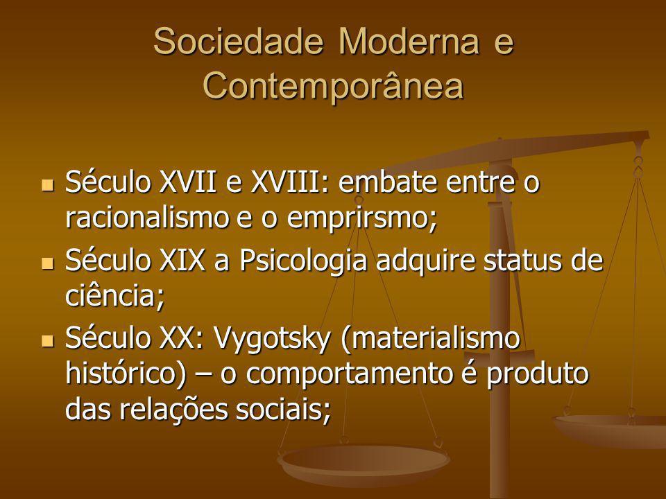 Sociedade Moderna e Contemporânea Século XVII e XVIII: embate entre o racionalismo e o emprirsmo; Século XVII e XVIII: embate entre o racionalismo e o