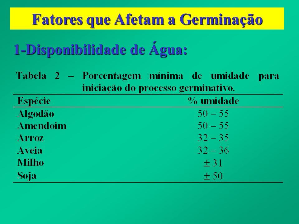 Fatores que Afetam a Germinação 1-Disponibilidade de Água: