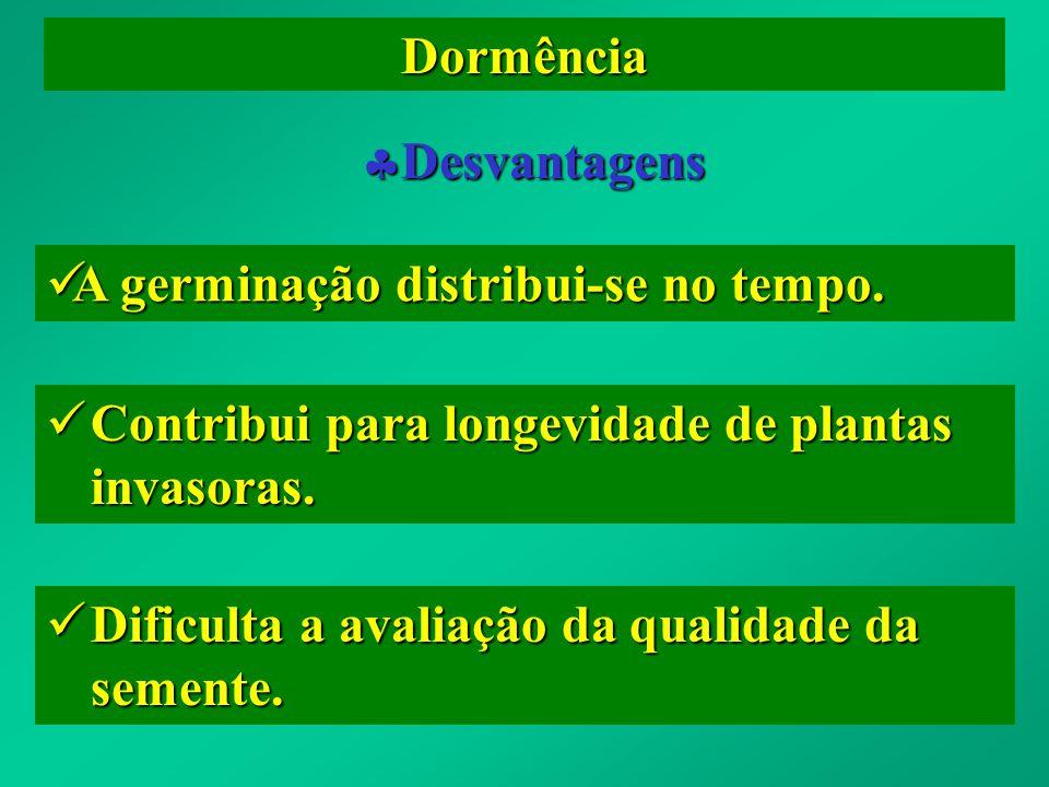 Dormência Desvantagens Desvantagens A germinação distribui-se no tempo. A germinação distribui-se no tempo. Contribui para longevidade de plantas inva