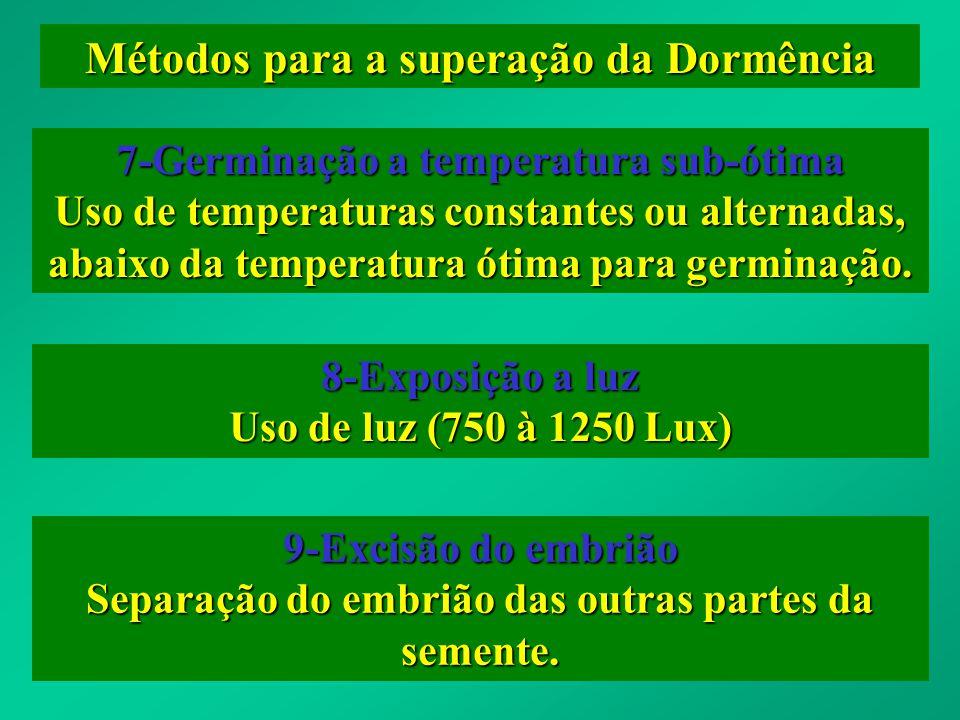 Métodos para a superação da Dormência 7-Germinação a temperatura sub-ótima Uso de temperaturas constantes ou alternadas, abaixo da temperatura ótima p