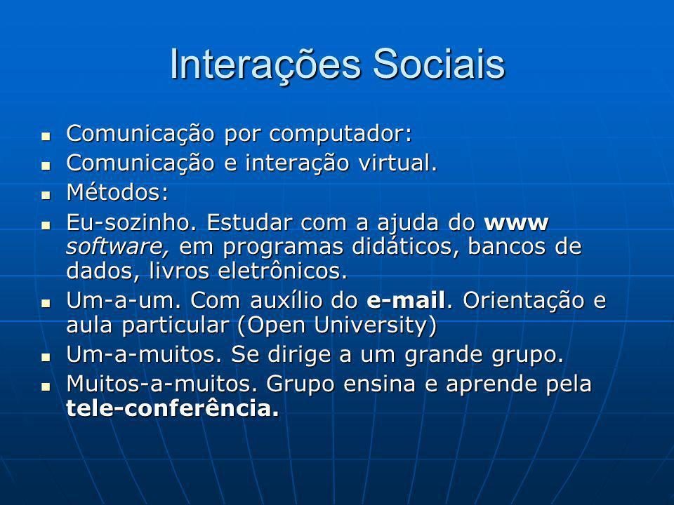 Interações Sociais Comunicação por computador: Comunicação por computador: Comunicação e interação virtual.