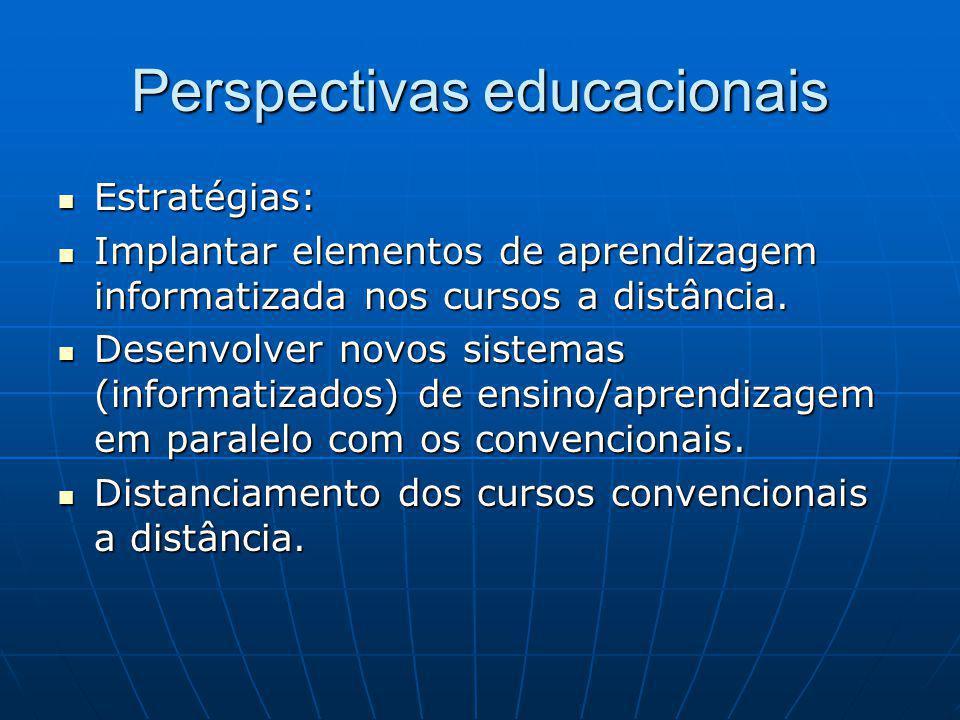 Perspectivas educacionais Estratégias: Estratégias: Implantar elementos de aprendizagem informatizada nos cursos a distância.