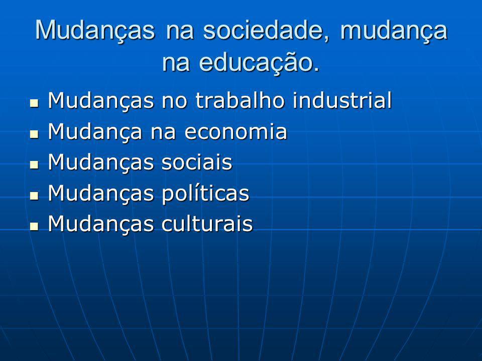 Mudanças na sociedade, mudança na educação.