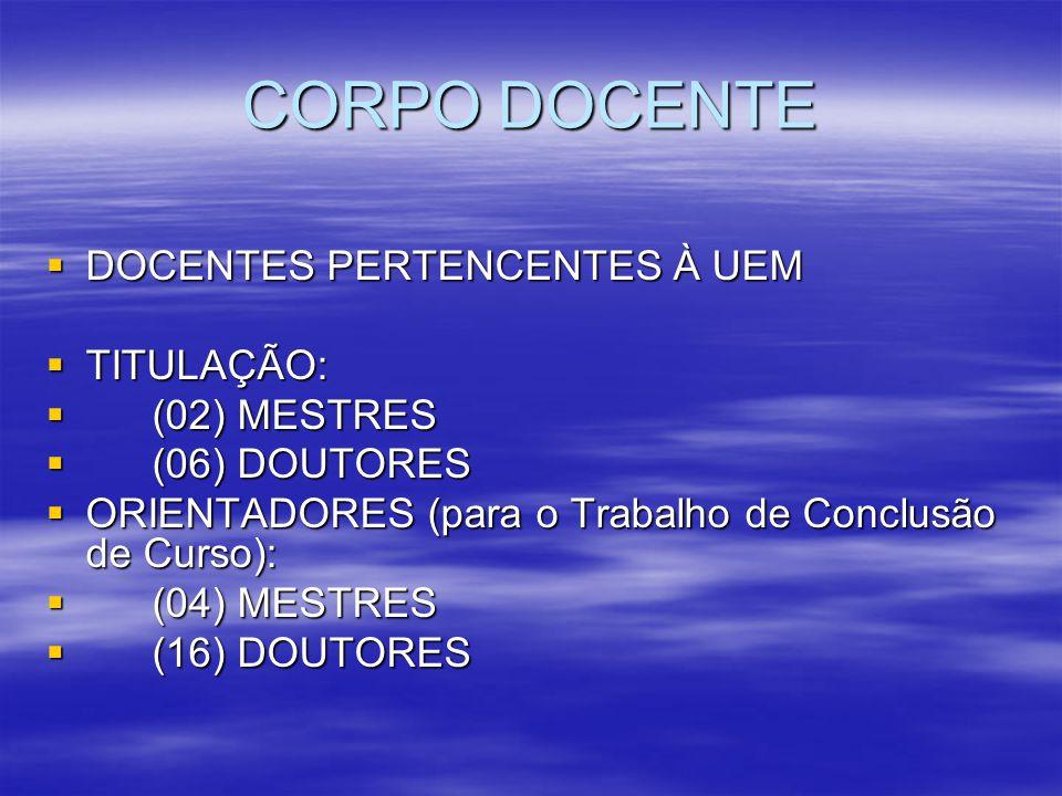 CORPO DOCENTE DOCENTES PERTENCENTES À UEM DOCENTES PERTENCENTES À UEM TITULAÇÃO: TITULAÇÃO: (02) MESTRES (02) MESTRES (06) DOUTORES (06) DOUTORES ORIE