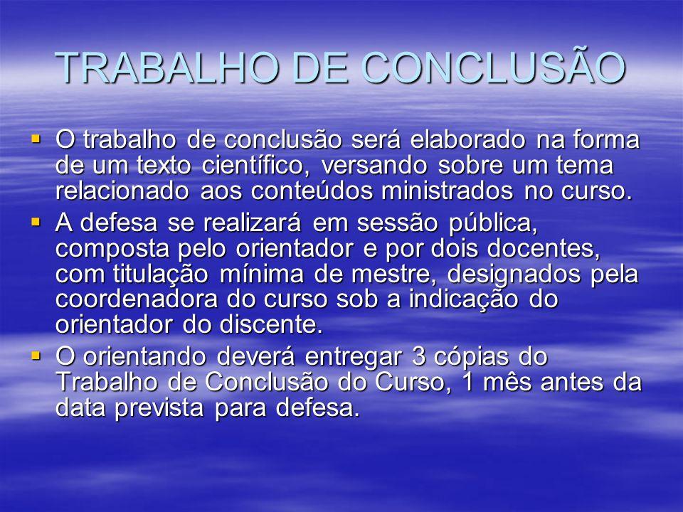 TRABALHO DE CONCLUSÃO O trabalho de conclusão será elaborado na forma de um texto científico, versando sobre um tema relacionado aos conteúdos ministr