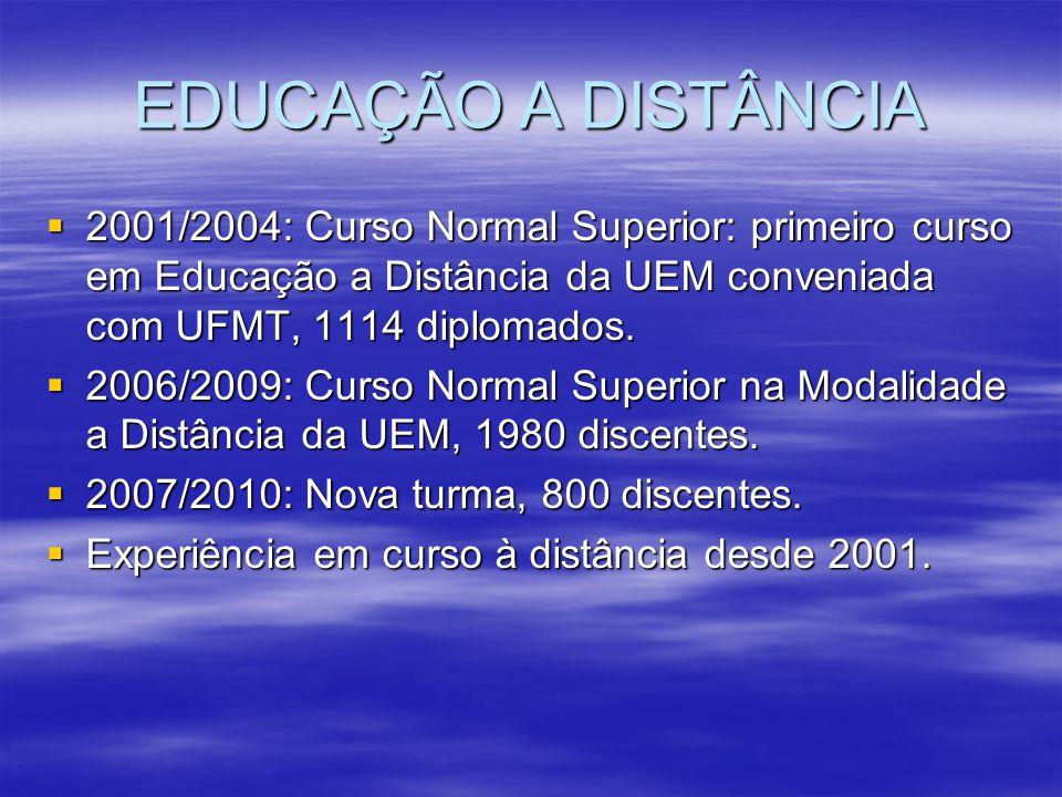 EDUCAÇÃO A DISTÂNCIA 2001/2004: Curso Normal Superior: primeiro curso em Educação a Distância da UEM conveniada com UFMT, 1114 diplomados. 2001/2004: