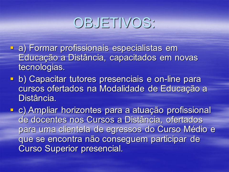 OBJETIVOS: a) Formar profissionais especialistas em Educação a Distância, capacitados em novas tecnologias. a) Formar profissionais especialistas em E