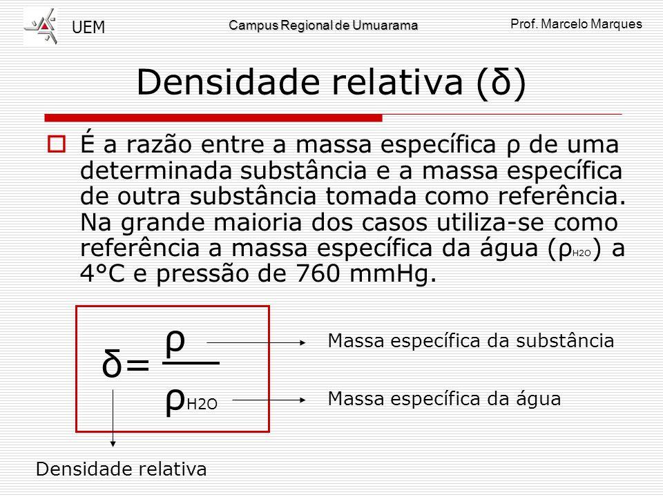 UEM Prof. Marcelo Marques Campus Regional de Umuarama Água: ρ x T