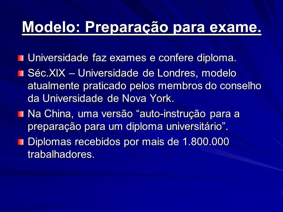 Modelo: Preparação para exame. Universidade faz exames e confere diploma. Séc.XIX – Universidade de Londres, modelo atualmente praticado pelos membros