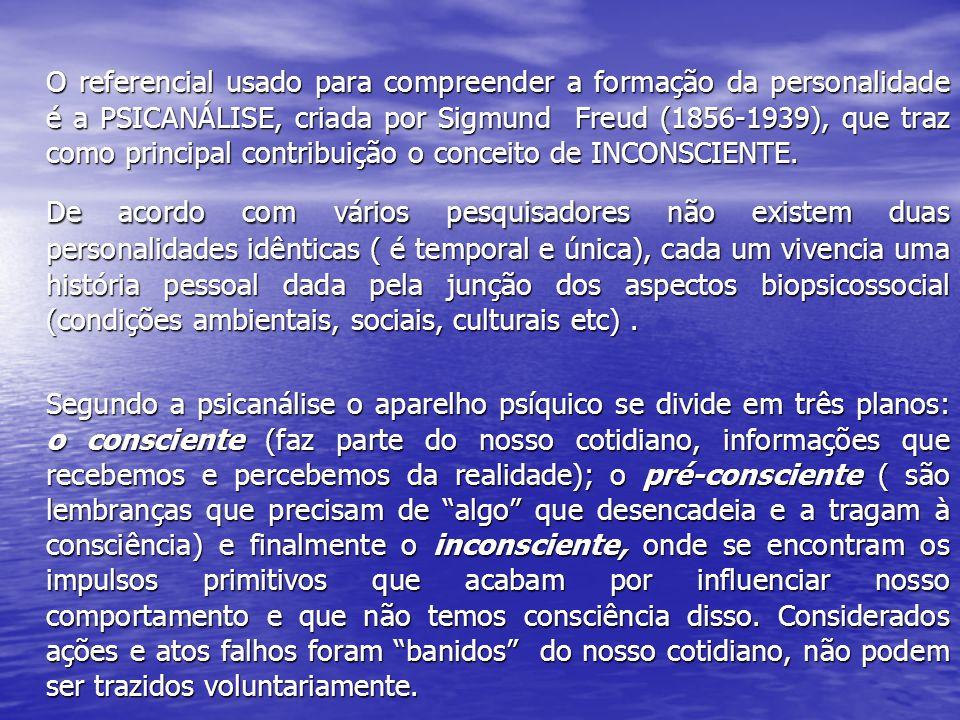 O referencial usado para compreender a formação da personalidade é a PSICANÁLISE, criada por Sigmund Freud (1856-1939), que traz como principal contri