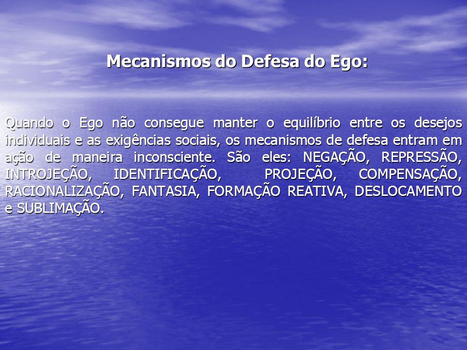 Mecanismos do Defesa do Ego: Quando o Ego não consegue manter o equilíbrio entre os desejos individuais e as exigências sociais, os mecanismos de defe
