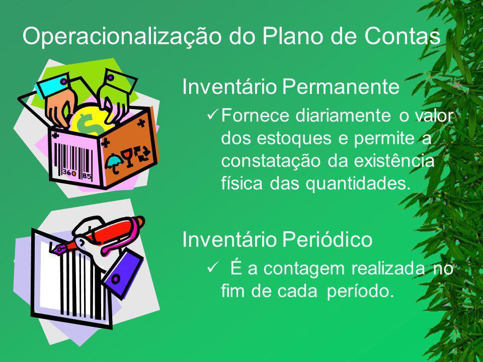 Operacionalização do Plano de Contas Inventário Permanente Fornece diariamente o valor dos estoques e permite a constatação da existência física das q