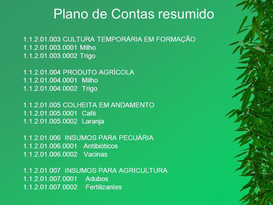 Plano de Contas resumido 1.1.2.01.003 CULTURA TEMPORÁRIA EM FORMAÇÃO 1.1.2.01.003.0001 Milho 1.1.2.01.003.0002 Trigo 1.1.2.01.004 PRODUTO AGRÍCOLA 1.1