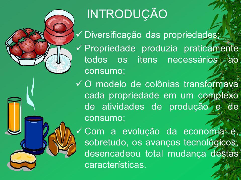 INTRODUÇÃO Diversificação das propriedades; Propriedade produzia praticamente todos os itens necessários ao consumo; O modelo de colônias transformava