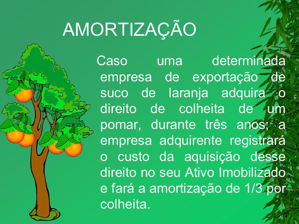 AMORTIZAÇÃO Caso uma determinada empresa de exportação de suco de laranja adquira o direito de colheita de um pomar, durante três anos; a empresa adqu