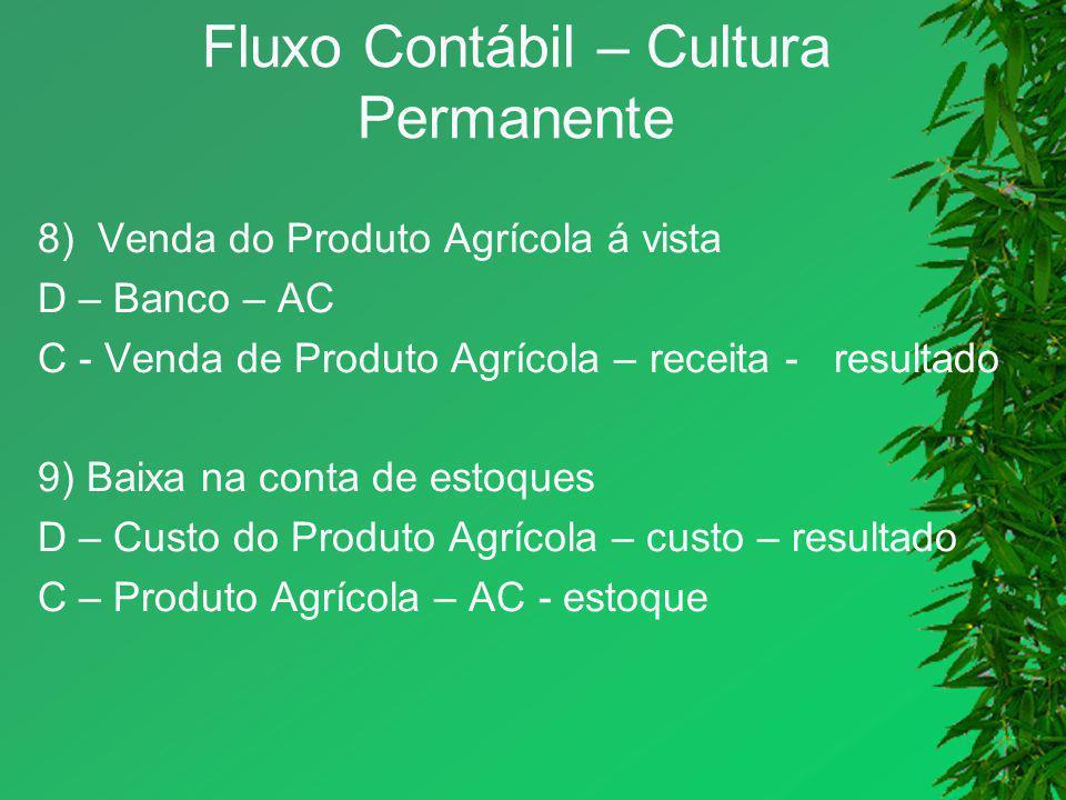 Fluxo Contábil – Cultura Permanente 8) Venda do Produto Agrícola á vista D – Banco – AC C - Venda de Produto Agrícola – receita - resultado 9) Baixa n